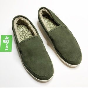 "Sanuk- Olive Green""O  Dice Chill"" Slip Ons- Size 8"